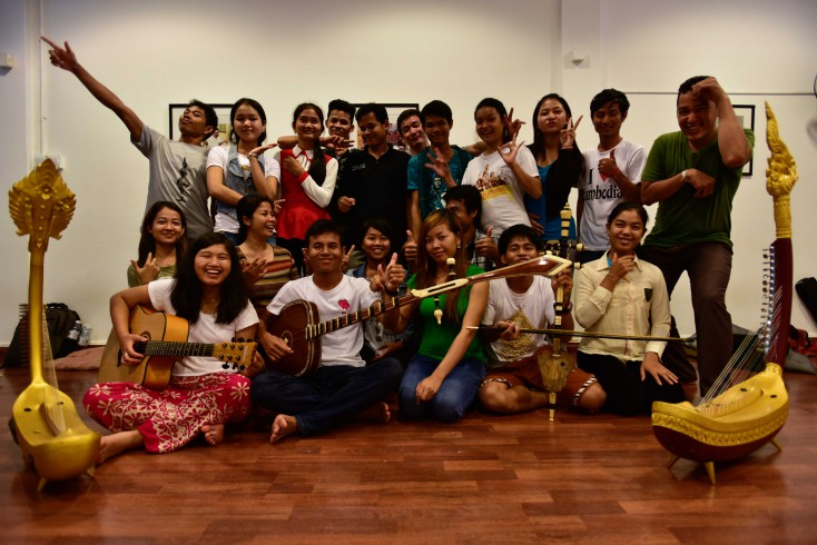 Cambodian Living Arts scholars during a workshop in July 2015.